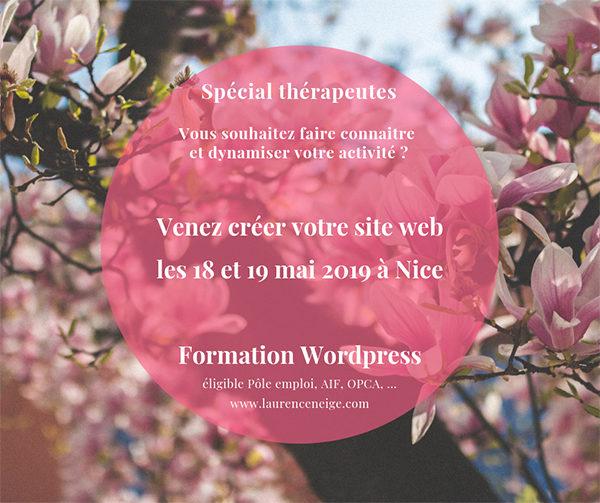 Formation WordPress éligible Pôle Emploi, AIF, OPCA, à Nice (06) mai 2019